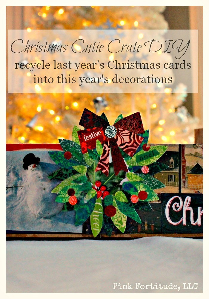 Recycle old christmas cards with a cutie crate diy pink for How to recycle old christmas cards